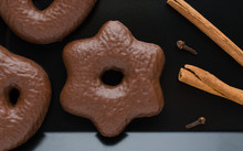 Traditional German Christmas Chocolate Gingerbread Lebkuchen With Cinnamon Sticks And Clove