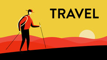 Vector Illustration Of A Man In A Hat, Walking In The Desert With Walking Sticks And Bagpack In The Sunset