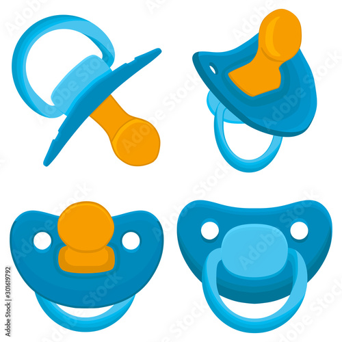 Fototapeta  Illustration on theme big colored set baby pacifiers, dummy with rubber nipple