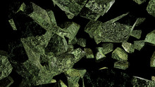 Green Mossy Fractal Rock Abstract Background