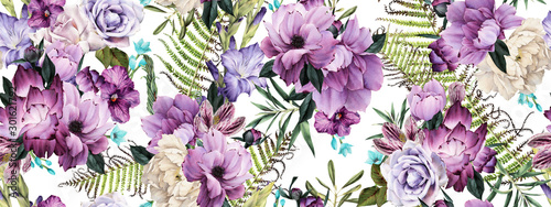 Fototapeta Seamless floral pattern with flowers, watercolor obraz