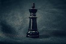Black Glass King Chess Piece O...