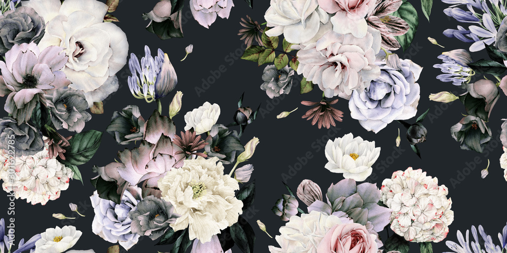 Fototapety, obrazy: Seamless floral pattern with flowers, watercolor.