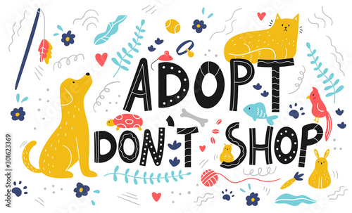 Lettering - adopt don't shop card Wallpaper Mural