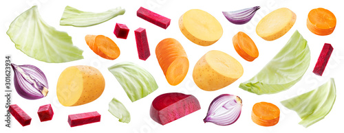 Fototapeta Mix of vegetables isolated on white background, ingredients for russian borsch soup obraz na płótnie