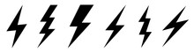 Lightning Bolt Icons Set. Vect...