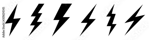 Photo Lightning bolt icons set. Vector illustration