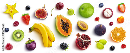 Mix of different fruits and berries, flat lay, top view Fototapete