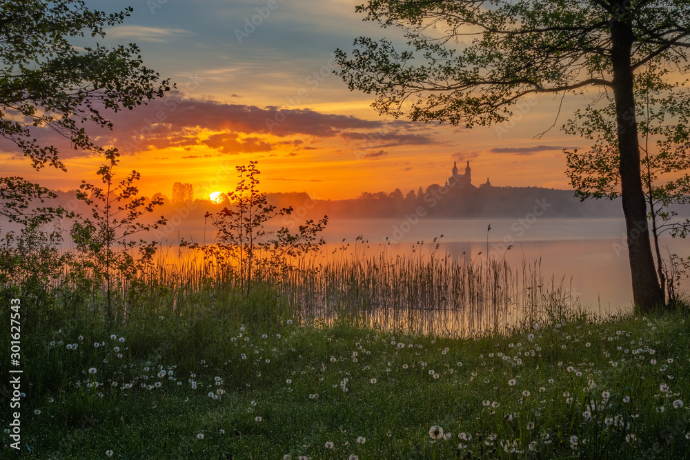 Fototapety, obrazy: Beautiful sunrise at Lake Wigry