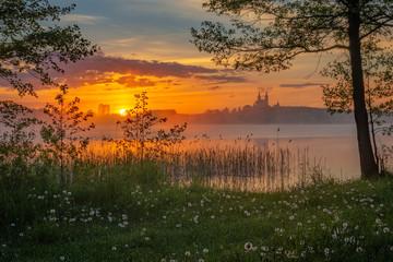 Fototapeta Rzeki i Jeziora Beautiful sunrise at Lake Wigry