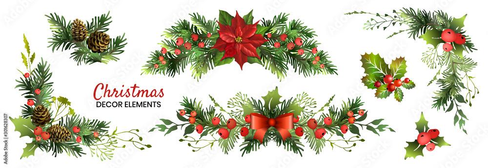 Fototapeta Christmas decor elements set for your design. Garland fective set. Vector illustration.