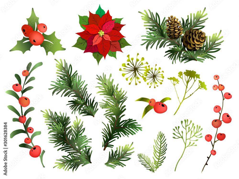 Fototapeta Christmas decor elements set. Vector illustration.