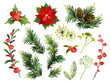 Christmas decor elements set. Vector illustration.