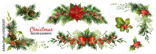 Obraz Christmas decor elements set for your design. Garland fective set. Vector illustration. - fototapety do salonu