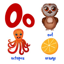 Vector Cute Kids Cartoon Alphabet. Letter O With Owl, Octopus And Orange.