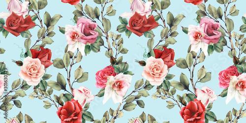 Obraz Kwiatowy wzór z różami - fototapety do salonu