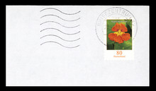 Brief Post Umschlag Envelope Briefmarke Stamp Gestempelt Deutschland Blume Orange Blätter Grün Kapuzinerkresse 80