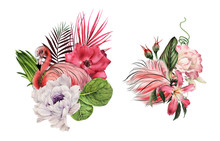 Flamingo With Tropical Flowers, Can Be Used As Greeting Card, Invitation Card For Wedding, Birthday And Other Holiday And  Summer Background