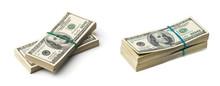 American Dollars On White Back...