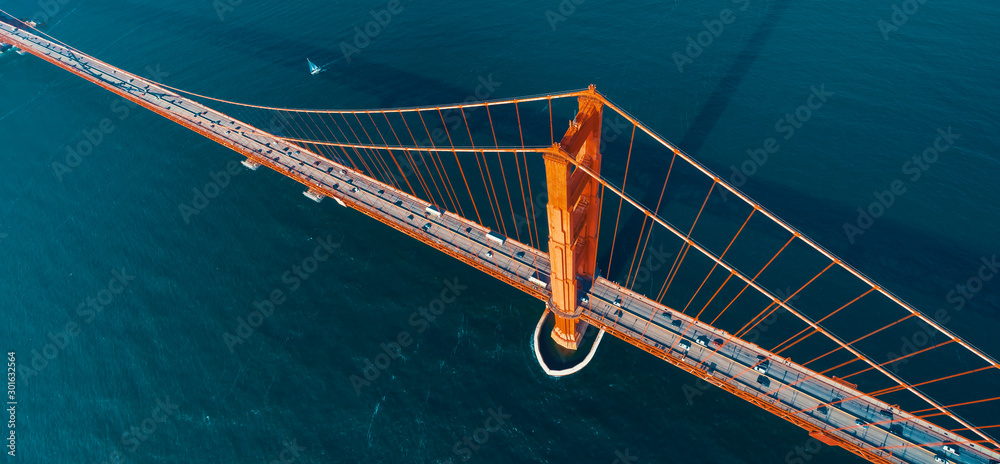 Fototapety, obrazy: Aerial view of the Golden Gate Bridge in San Francisco, CA