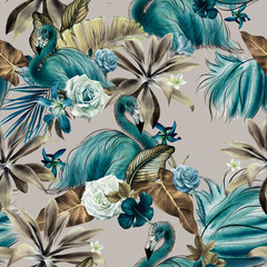 Seamless floral pattern with tropical flowers and flamingo, watercolor.