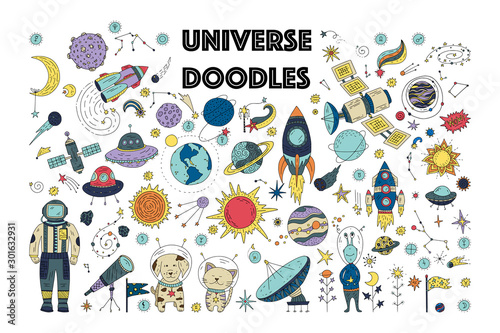 Obraz Big universe galaxy space doodle vector set. Astronaut man, animals with planets, comet, spaceship, satellite and star icon collection. - fototapety do salonu