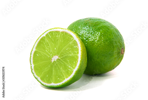 Fresh lime isolated on white Billede på lærred