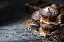 Sweet Muffins With On Dark Tex...