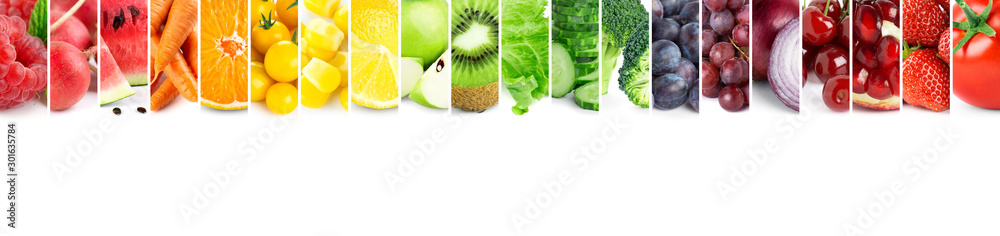 Fototapety, obrazy: Collage of  fruits, vegetables and berries. Fresh mixed food