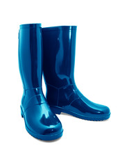 Blue Rubber Boots On A White B...