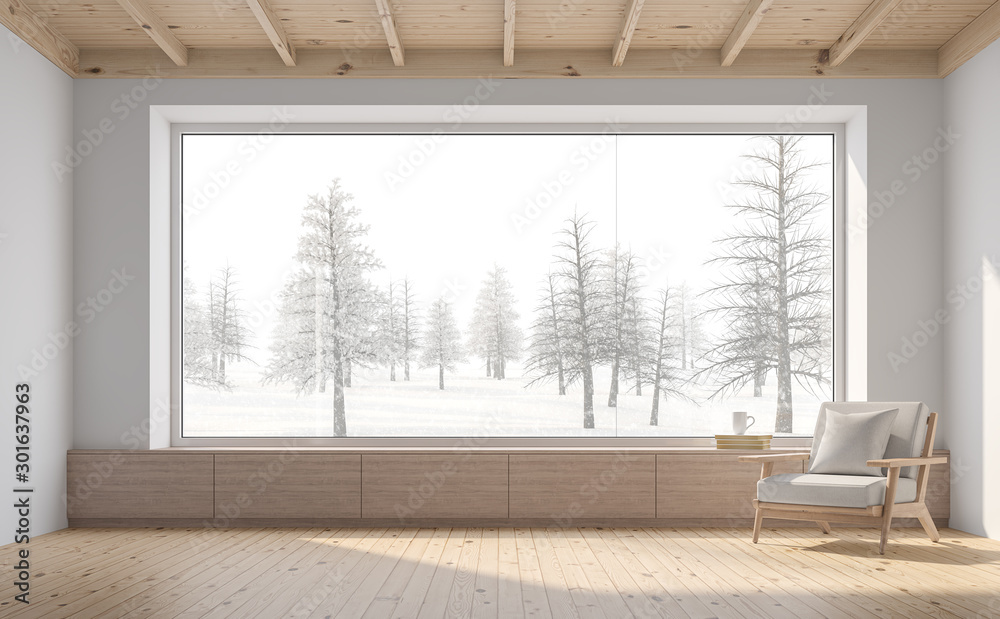 Fototapety, obrazy: Empty room with snow scene background 3d render,There are white wall,wooden floor and ceiling,wood seat,decorate with fabric chair.There are big  windows look out to see nature view.