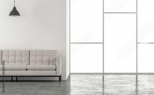 Pinturas sobre lienzo  Minimal loft style living room 3d render