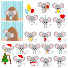 Cute Mouse Vector Set Isolated...