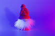 canvas print picture - Closeup conceptual art Santa with shadow in duotone pink and blue lights