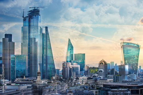 obraz PCV City of London view, business, banking and office area. London, UK