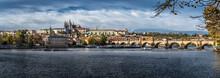 Charles Bridge Over Moldova River And Hradcany Castle In Prague In The Czech Republic