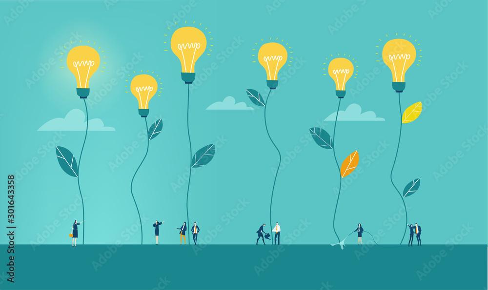 Fototapeta Business people walking between light bulbs plants. Generating ideas, best advisory. Concept illustration