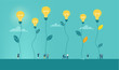 canvas print picture - Business people walking between light bulbs plants. Generating ideas, best advisory. Concept illustration