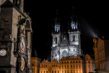 Old Town Square With Astromonic Clock And The Church Of Our Lady Before Týn In Prague In The Czech Republic