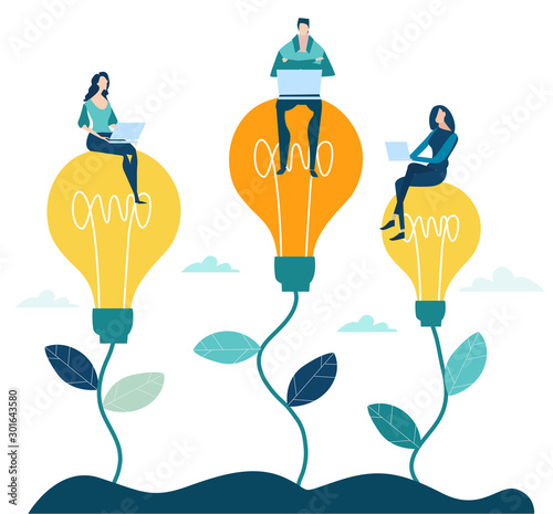 Obraz Business people, creative team sitting on light bulbs and producing ideas. Concept illustration - fototapety do salonu