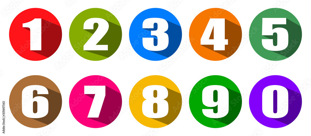Fototapeta Modern colorful numbers button set multicolored – stock vector