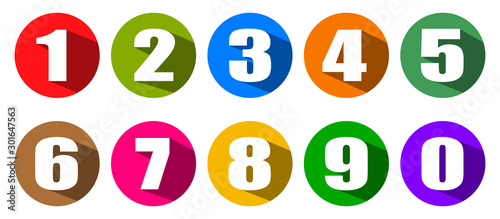 Fototapeta Modern colorful numbers button set multicolored – stock vector obraz