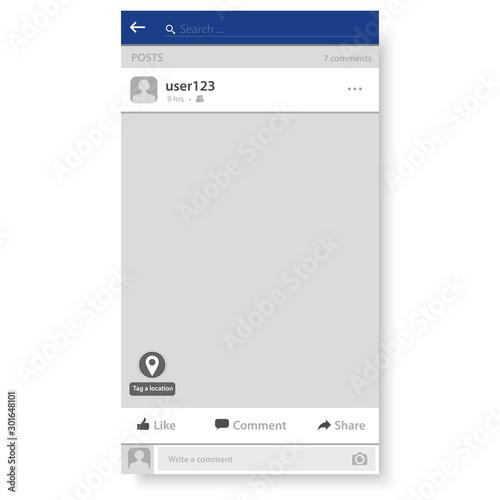 Fototapeta Social network frame, Post messenger template, Vector obraz na płótnie