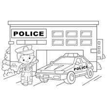Coloring Page Outline Of Cartoon Policeman With Car. Profession - Police. Image Transport Or Vehicle For Children. Coloring Book For Kids.