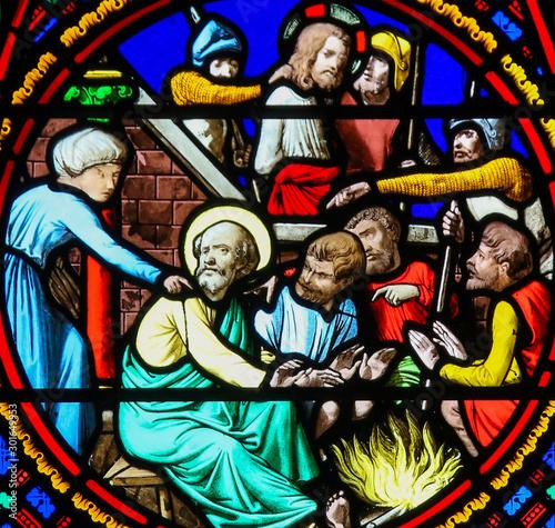 Obraz na plátne Stained Glass in Notre-Dame-des-flots, Le Havre