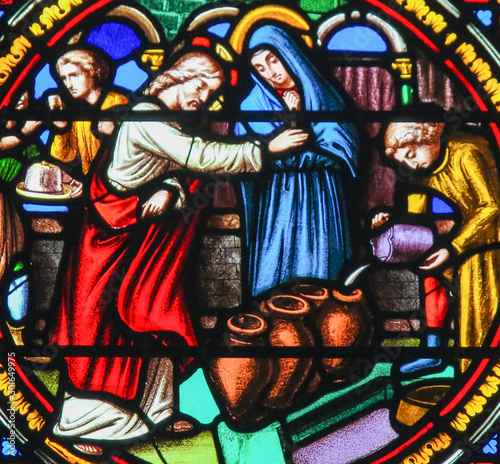 Cuadros en Lienzo Stained Glass in Notre-Dame-des-flots, Le Havre - Wedding at Cana