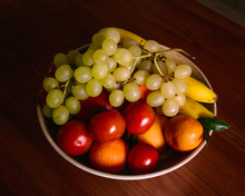Fruits And Vegetables In A White Bowl