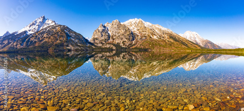 Panorama of Leigh Lake with reflection in the Grand Teton National Park Canvas Print
