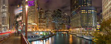 Chicago Downtown Skyline Evening Night River