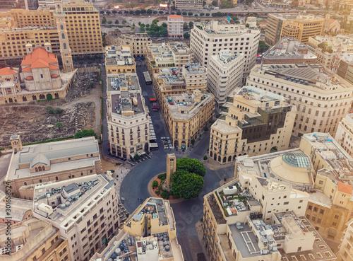 Stampa su Tela Downtown Beirut: Nejmeh Square, Drone shot of Downtown Beirut, Lebanon
